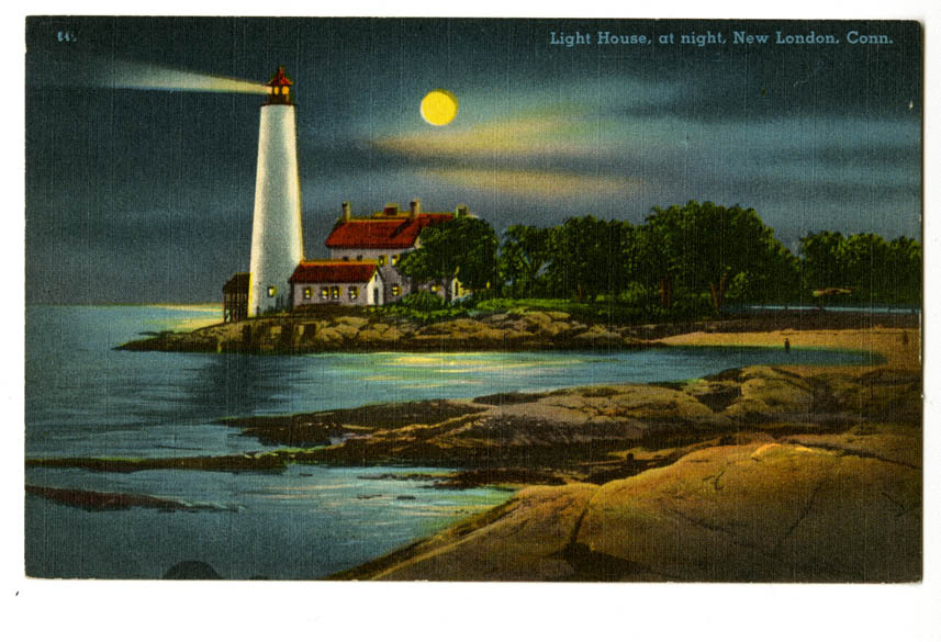 Light House, at night, New London, Conn.