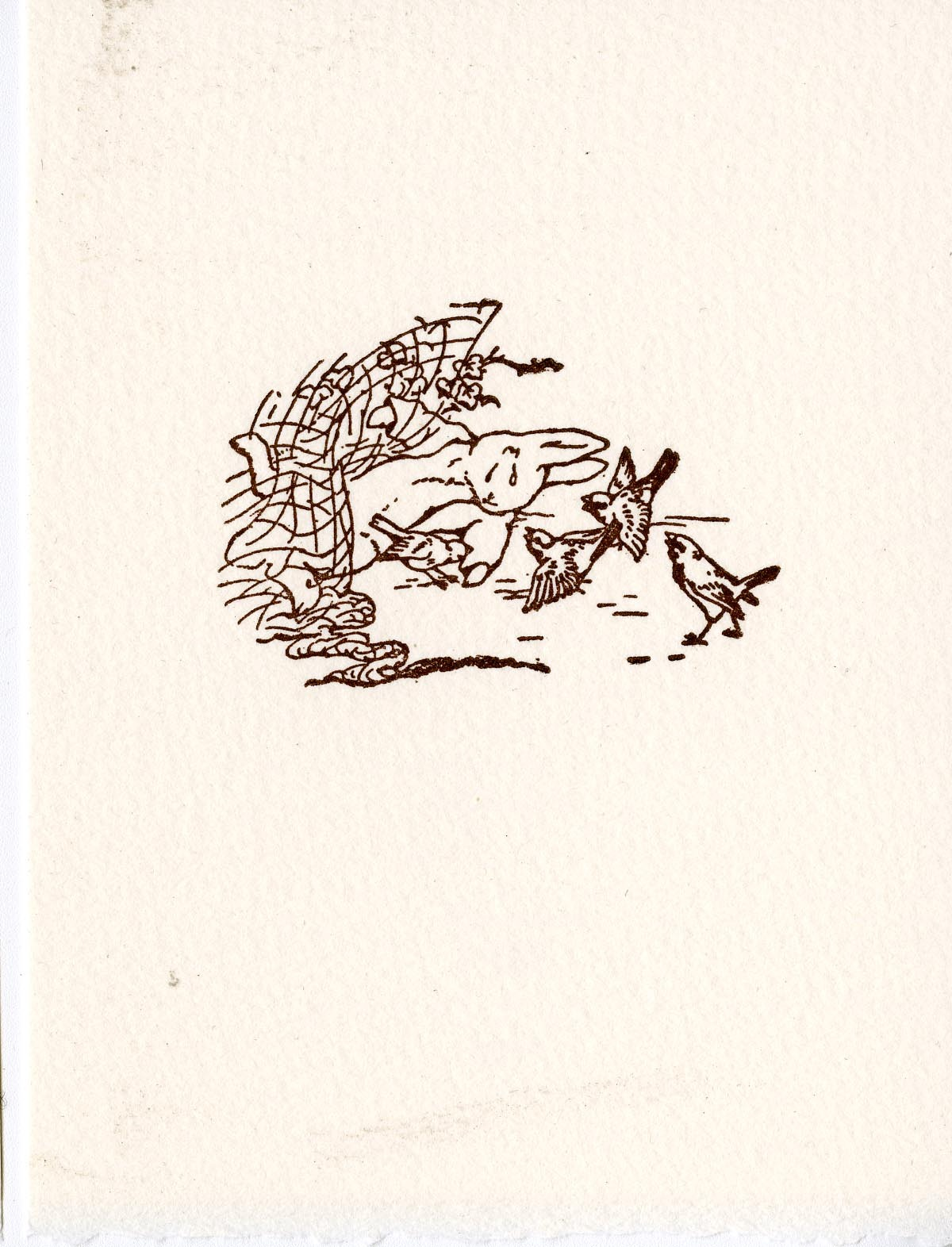 "Block 19 ""Some friendly sparrows…implored him to exert himself"" from The Tale of Peter Rabbit: Prints from the Original Blocks"