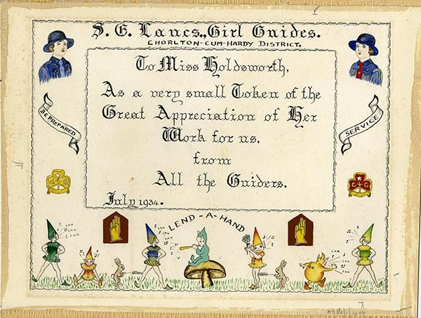 Certificate to Kitty Holdsworth from the Chorlton-cum-Hardy district Girl Guides