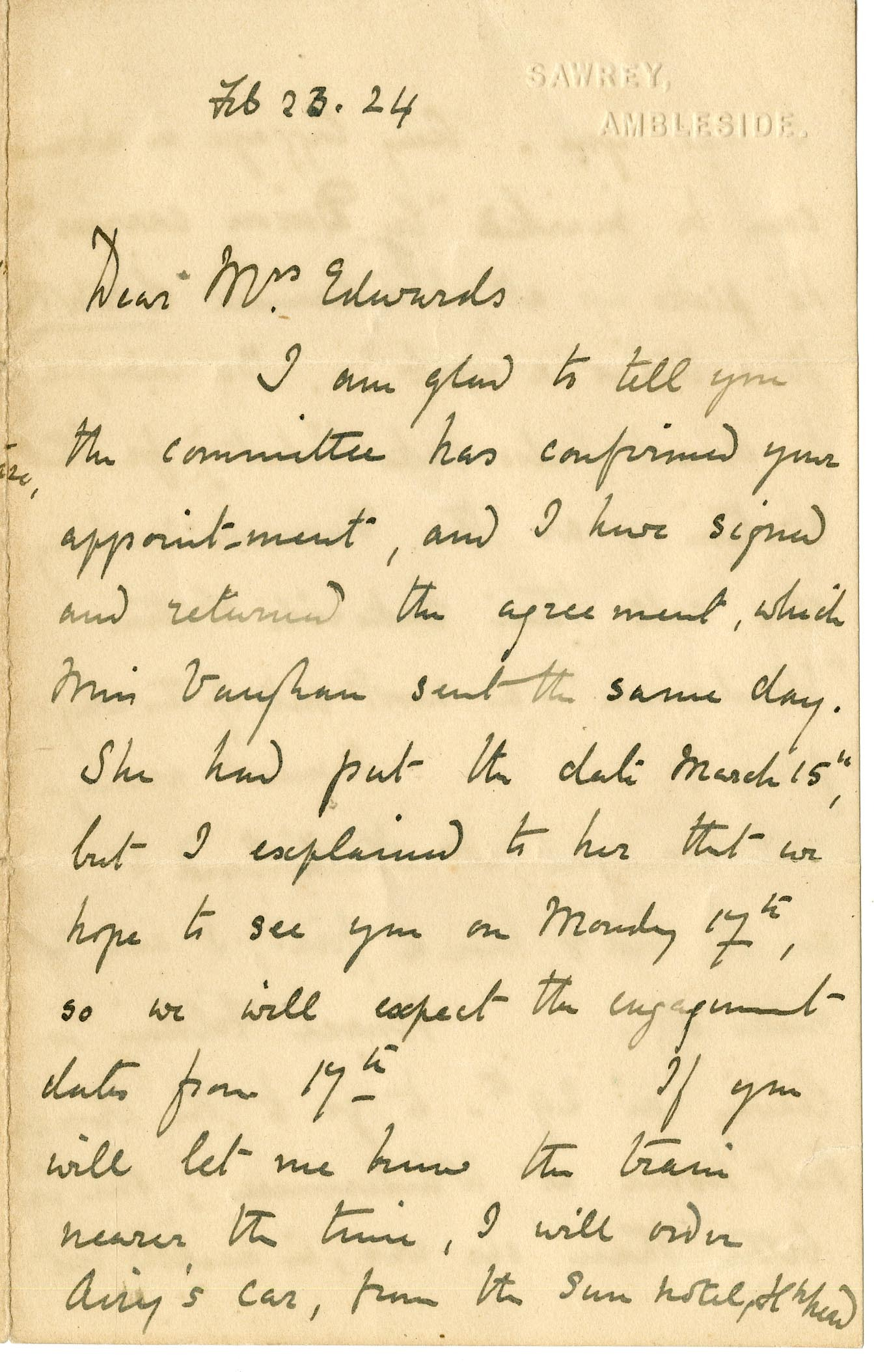 Autographed letter signed Beatrix Heelis to Mrs. [Celia N.] Edwards