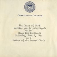 Invitation to the Connecticut College Class of 1968's Class Day Exercises